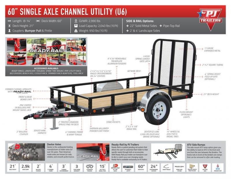 "2019 PJ Trailers Single Axle Channel Utility (U6) Utility Trailer 8' x 60"""