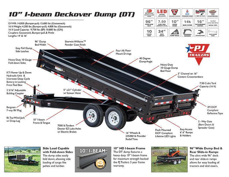 2019 PJ Trailers 10 in. I-Beam Deckover Dump (DT) Dump Trailer