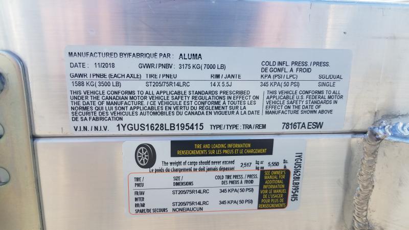 2020 Aluma 7818TA ESW Utility Trailer