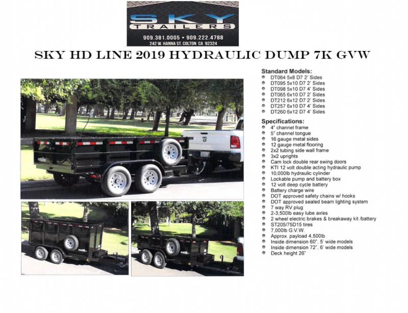 2019 SKY HD HYDRAULIC DUMP 7K Dump Trailer