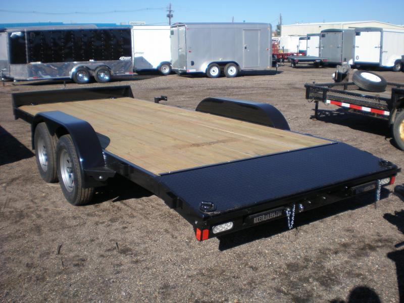 2018 Rice 7X18 Flatbed Car Hauler Trailer w/Dovetail