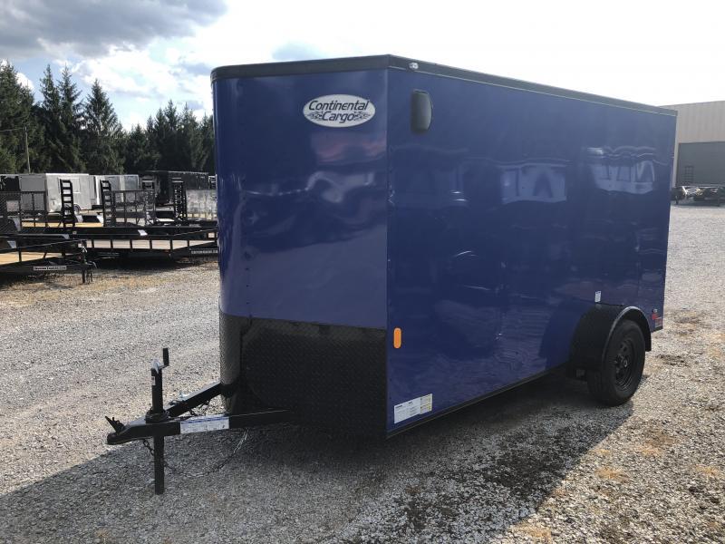 2020 Continental Cargo 6x12 V-Nose Black Out Side Door Ramp Door Enclosed Cargo Trailer