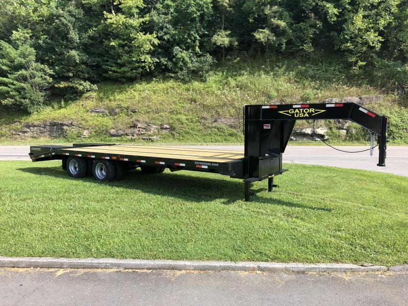 "2020 Gatormade Trailers 25 tandem dual gooseneck 30"" fold flat ramps Husky Edition Equipment Trailer"