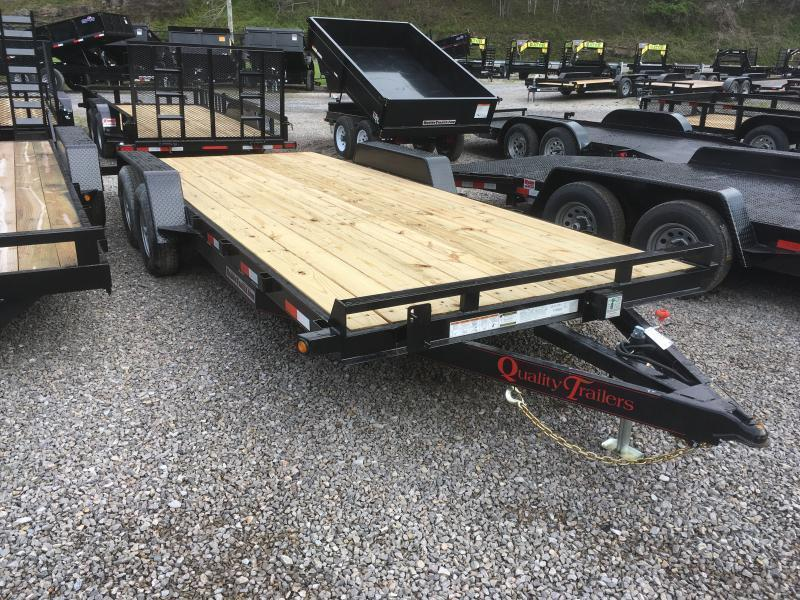 2020 Quality Trailers 82x20 5ton bumper pull wood car hauler Trailer w/left removable fender