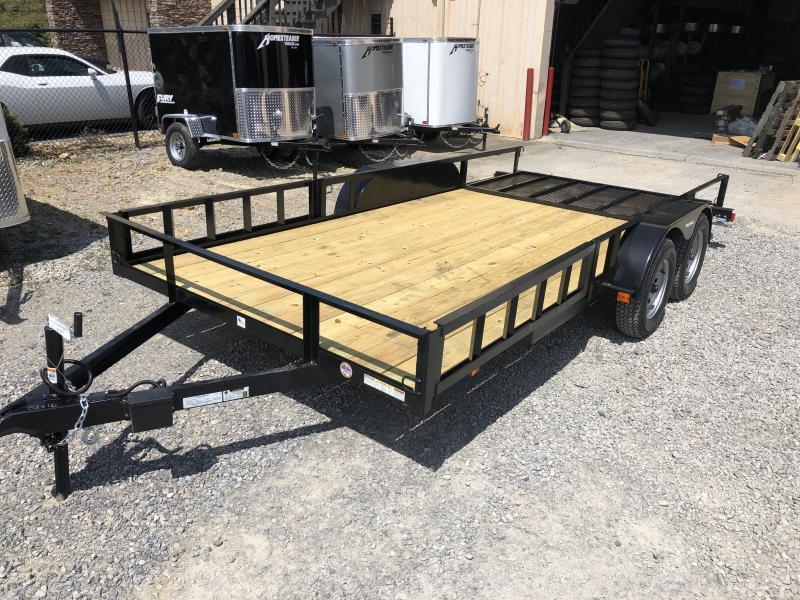 2019 Triple Crown 82x16 tandem axle side load ramps w/gate Utility Trailer