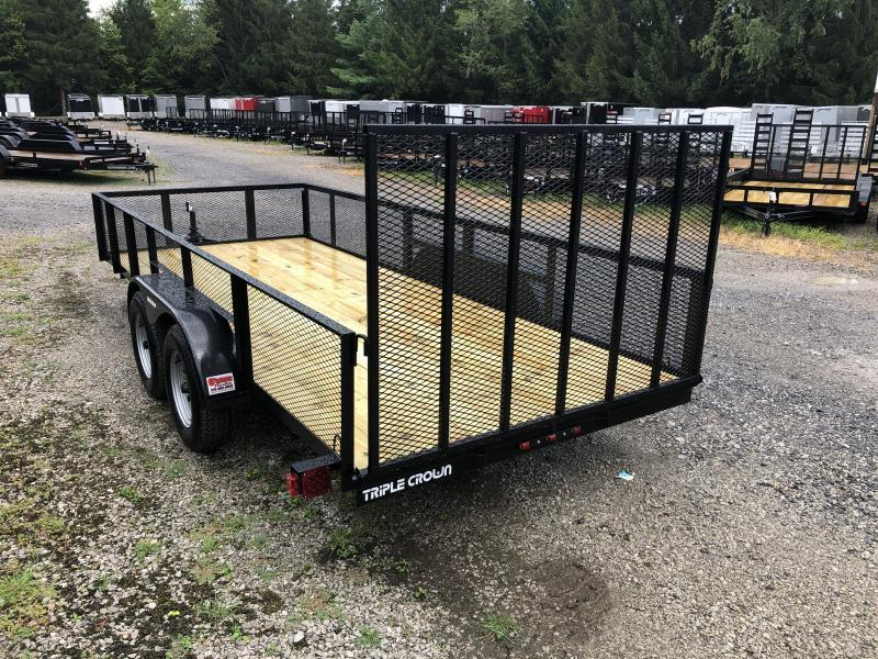 2019 Triple Crown 76x16 tandem axle w/gate and 2' mesh sides Utility Trailer