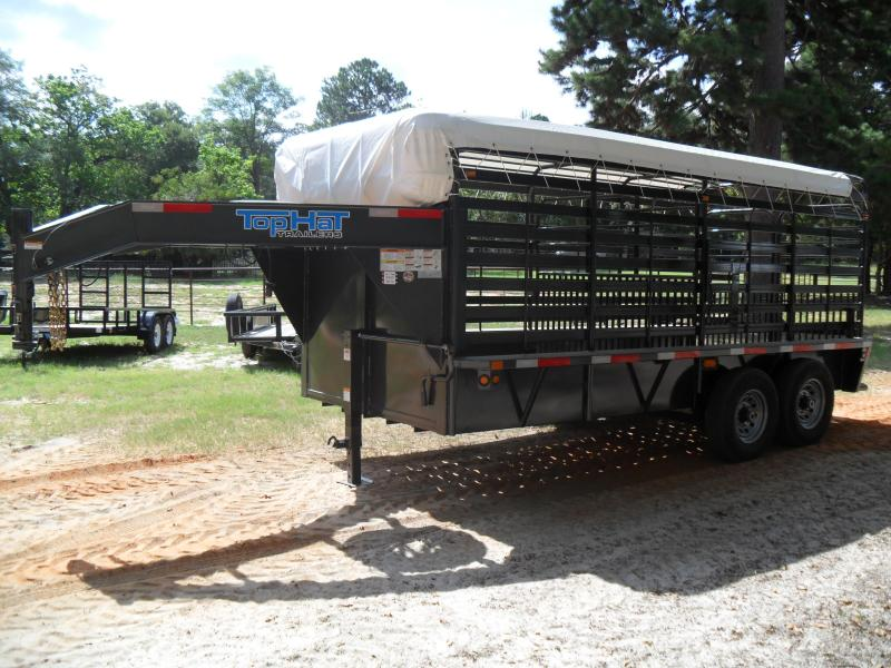 "2020 Top Hat Trailers 16' X 6'8"" Bar Top Livestock Trailer"
