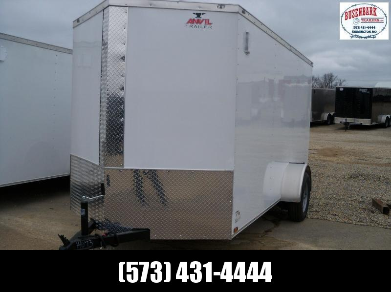 "2020 White Enclosed Anvil Vnose Cargo Trailer AT6X12SA 6'3"" Tall"