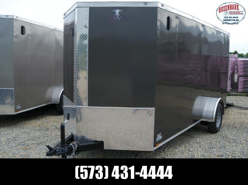 14X072 Anvil Charcoal Vnose 1 Axle Enclosed Cargo Trailer AT6X14SA