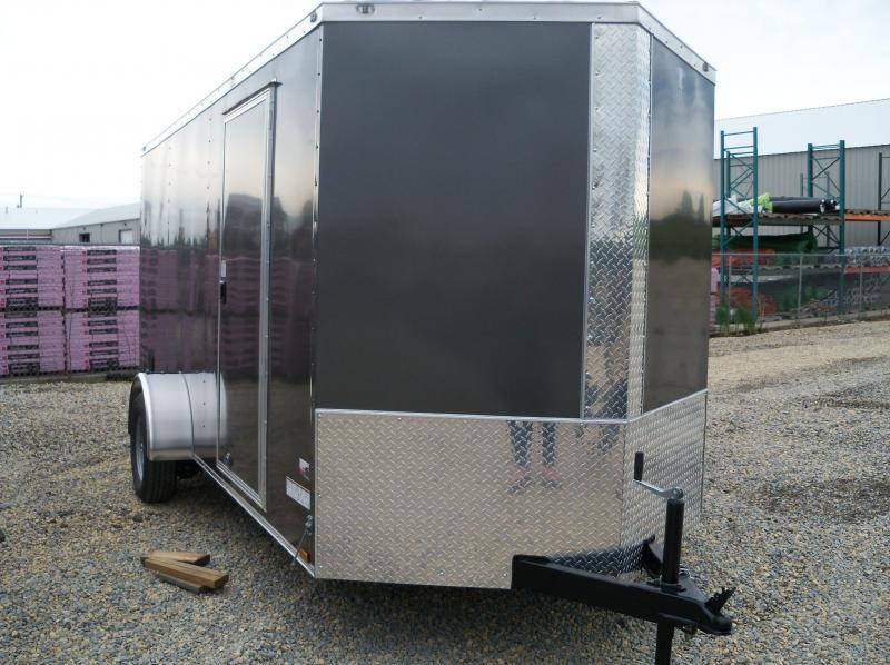14X072 Anvil Charcoal Vnose 1 Axle Enclosed Cargo Trailer AT6X14SA