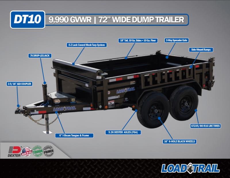 """72"""" X 10' Tandem Axle Dump DT7210052"""