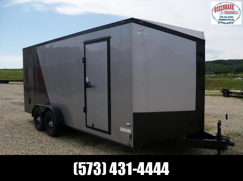 18x084 Anvil Silver & Charcoal V-Nose Extra Height Cargo Trailer AT7X18TA2