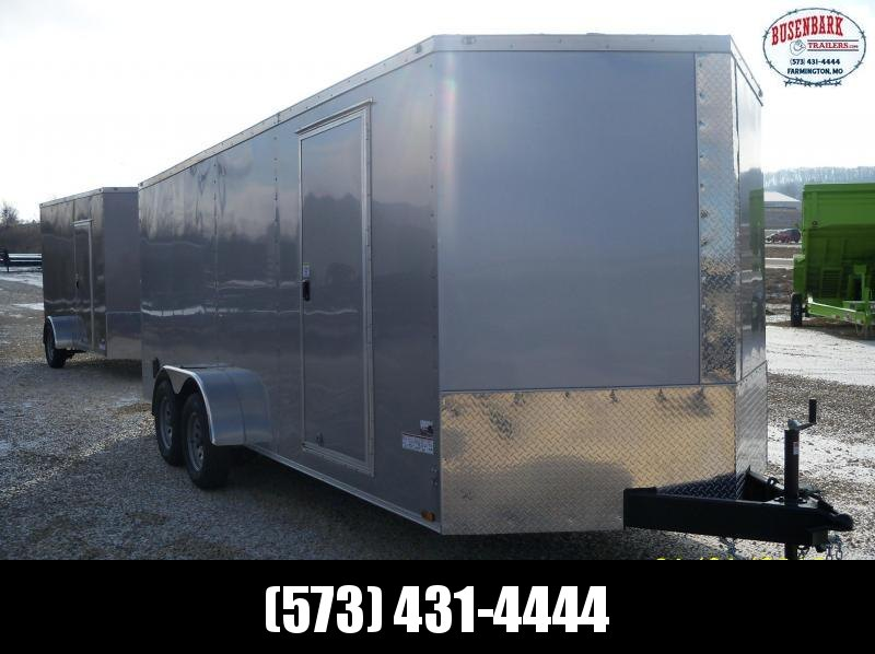 18X084 Anvil Silver V-Nose Cargo Trailer AT7X18TA2