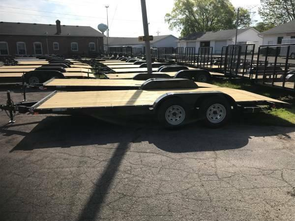 16ft Wood Deck Car Hauler Trailer w/ 1 Axle Brake