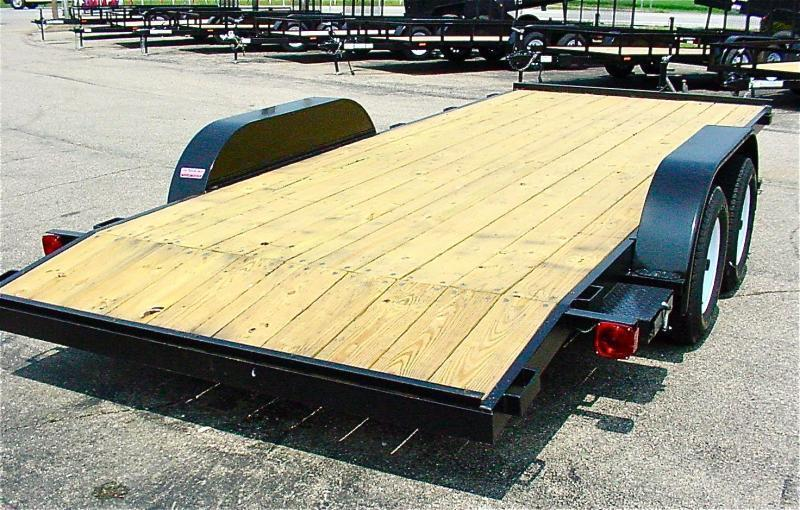 18ft Wood Deck Car Hauler Trailer w/ 2 Axle Brake