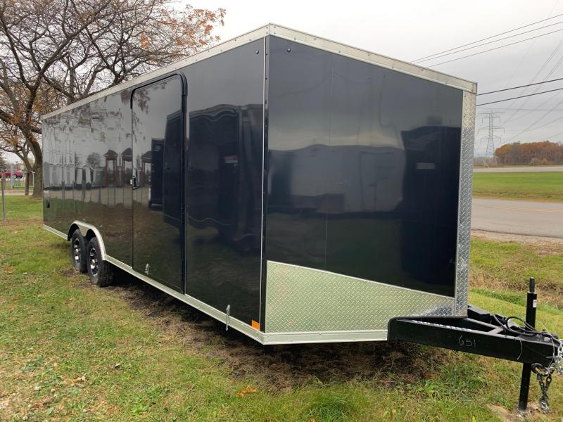 "8x24 Impact with Escape Door - 10,000lb Enclosed Car Hauler - Screwless Exterior - Full 16"" on Center"