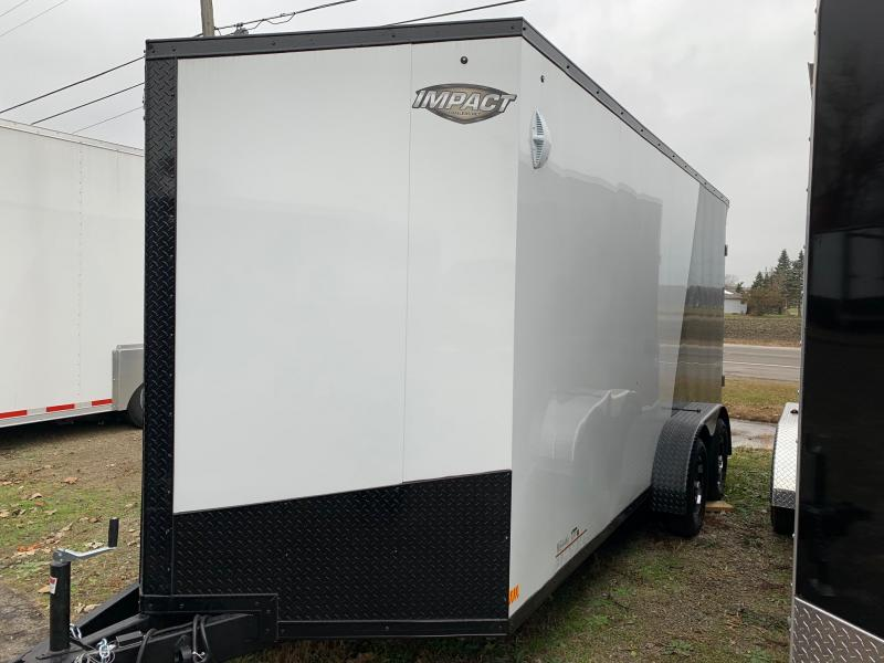 7x16 Impact Tremor Trailer - 7' Interior Height - Two Tone Trim Package - Smooth Exterior - Aluminum Wheels