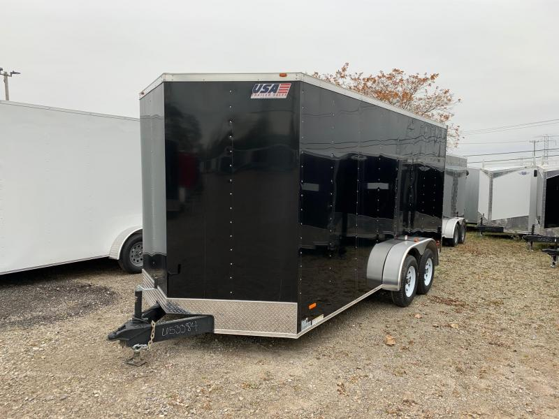 7x16 USA Model - 7' Inside Height - w/ Ramp Door (Black)