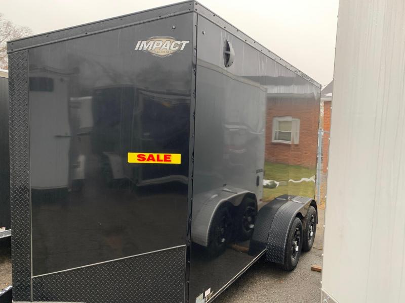 """*2019 Model Clearance* 7x14 Impact Trailer w/ Option Package - Blackout Trim/Wheels - 7' Interior Height - 16"""" on Center"""