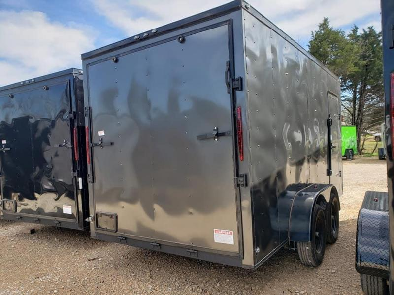 """2020 Deep South 7x14 Tandem Axle Enclosed Cargo Trailer - 84"""" in height - Charcoal with Black Trim"""