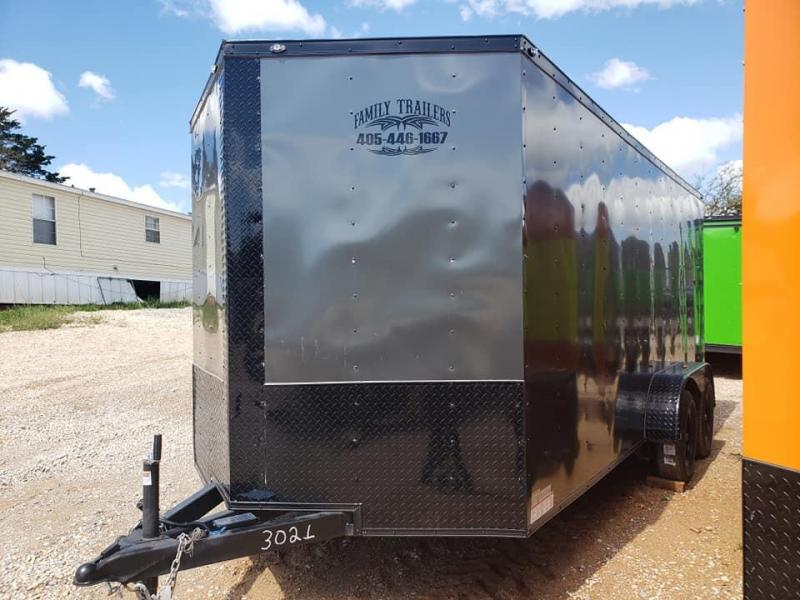2020 Deep South 7x16 Tandem Axle  Enclosed Cargo Trailer -  Charcoal Metal w/ Black Trim