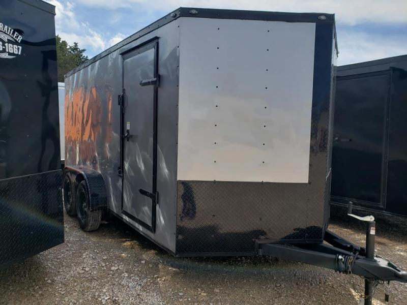 2020 Deep South 7x14 Tandem Axle Enclosed  Cargo Trailer - Silver Black Trim Package