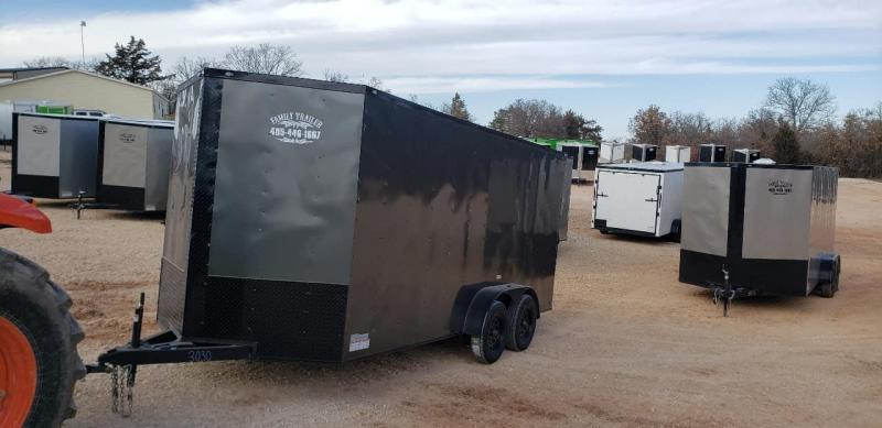 """2020 Deep South 7x16 Tandem Axle Enclosed Trailer Enclosed Cargo Trailer - 84"""" in height - Charcoal Metal w/ Black Trim"""