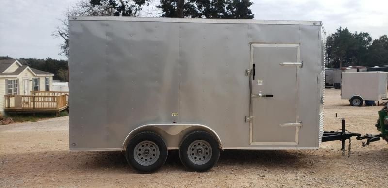 "2020 Deep South 7x14 Tandem Axle Enclosed Cargo Trailer - 84"" in height - Silver Metal"