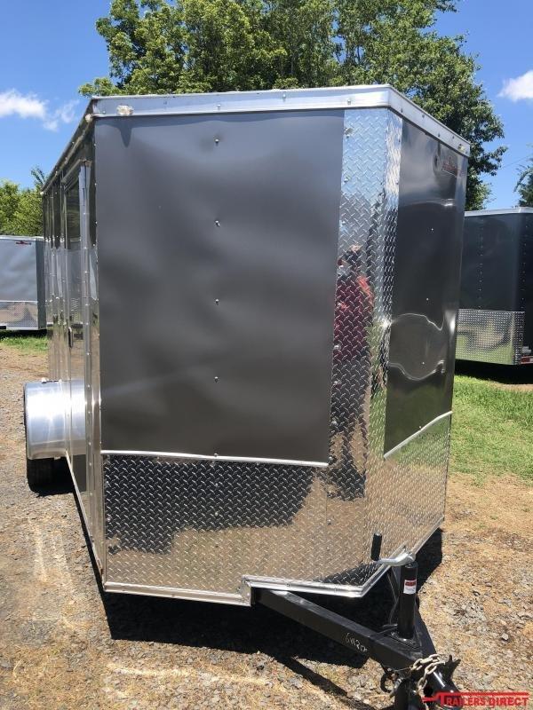 2019 Doolittle Trailer Mfg Razorback 6x12SA Charcoal Ramp Door Enclosed Cargo Trailer