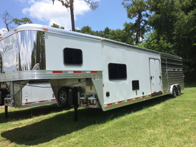 2020 Exiss Trailers 8 wide 10.6 lq w/bunk &ramp; midtack and 14' stock area Livestock Trailer