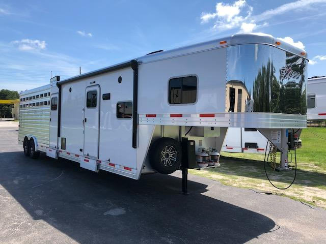 2020 Exiss Trailers 8 wide 10.6 lq w/bunk ramp; midtack and 14' stock area Livestock Trailer