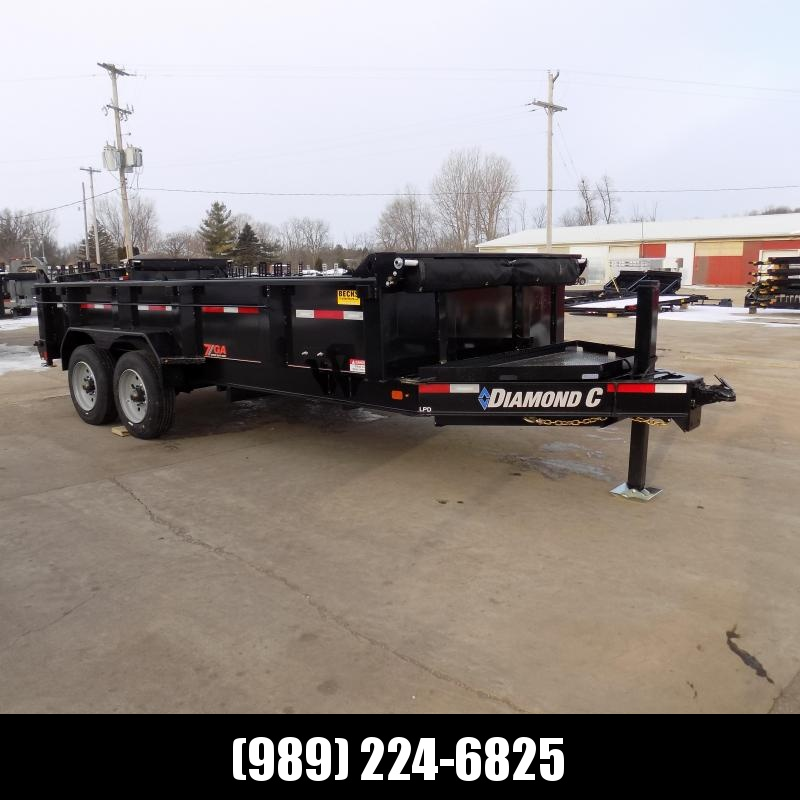 """New Diamond C 82"""" x 16' Low Profile Dump Trailer With 10K Torsion Axles & Hydraulic Jack - $0 Down Fianancing Available"""