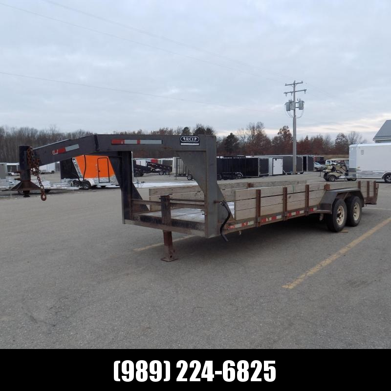 "Used Rice 83"" x 22' Gooseneck Trailer w/ Fifth Wheel Attachment"