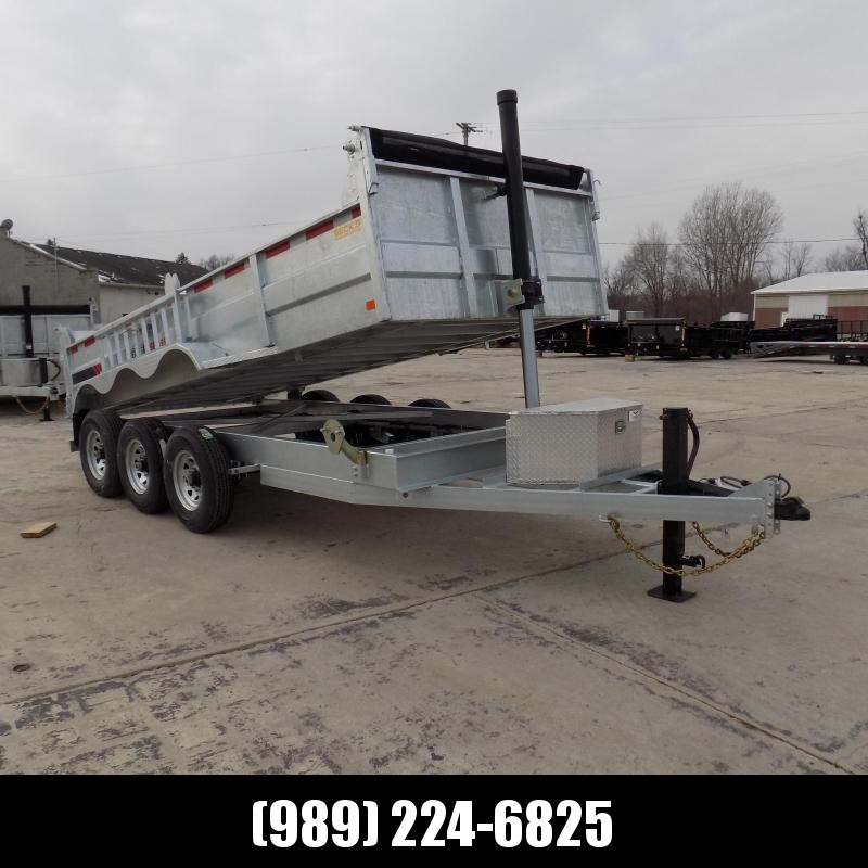 "New Galvanized 80"" x 16' Triple Axle Dump Trailer with 24K Telescopic Lift - $0 Down & Payments From $169/mo. W.A.C."