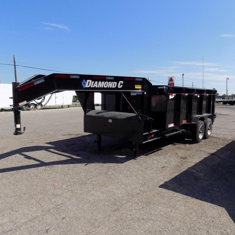 "New Diamond C 82"" x 14' Low Pro Gooseneck Dump Trailer w/ 10K Axles + Telescopic Lift"