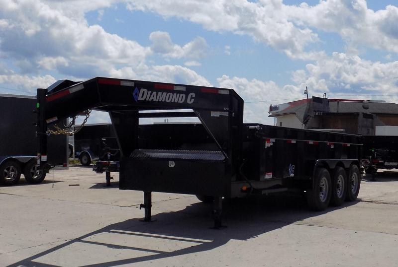 "New Diamond C 82"" x 16' Triple Axle Low Pro Gooseneck Dump Trailer - 19500# Payload!"