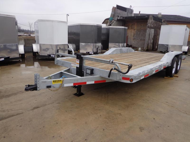 """New Galvanized 102"""" x 20' Flatbed Equipment Trailer for Sale"""