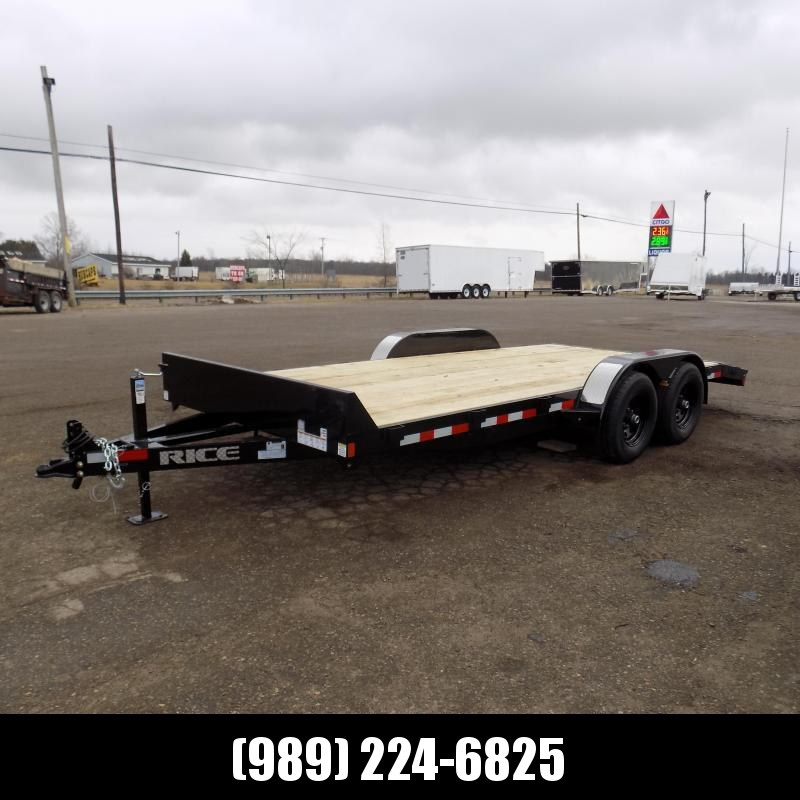 """New Rice Trailers 82"""" x 18' Open Car Hauler With 5200# Axles"""