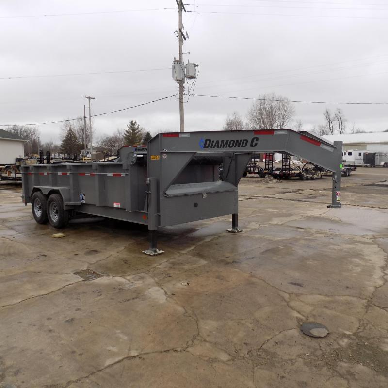 "New Diamond C 82"" x 16' Low Profile Gooseneck Dump Trailer For Sale - $0 Down & Payments from $173/mo. W.A.C."