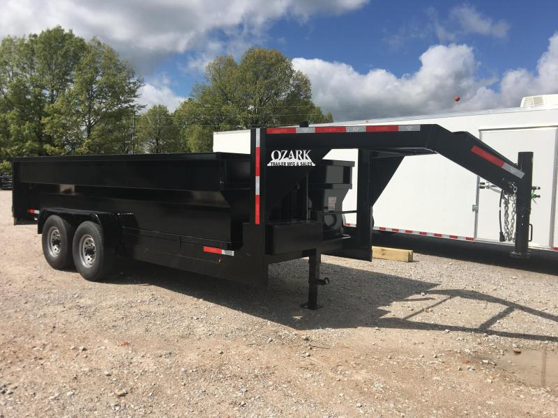 2020 Ozark 83x16 Gooseneck 16K GVWR with 3' Sides Dump Trailer