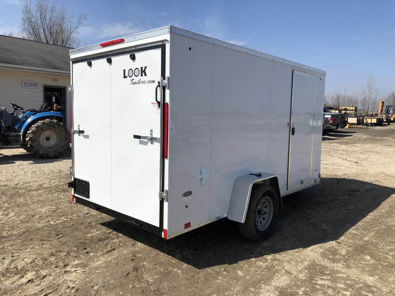 Look Trailers 6X12 V-Nose Ramp Door Enclosed Trailer White