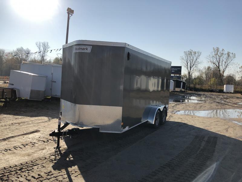 Haulmark Transport 7x16 V-Nose Ramp Door Enclosed Trailer Charcoal 7ft Interior