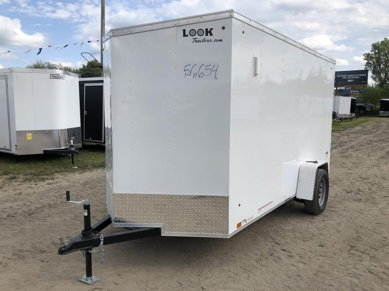 Look Trailers 6X12 V-Nose Ramp Door Enclosed Trailer White w/ 6ft 6in Interior height