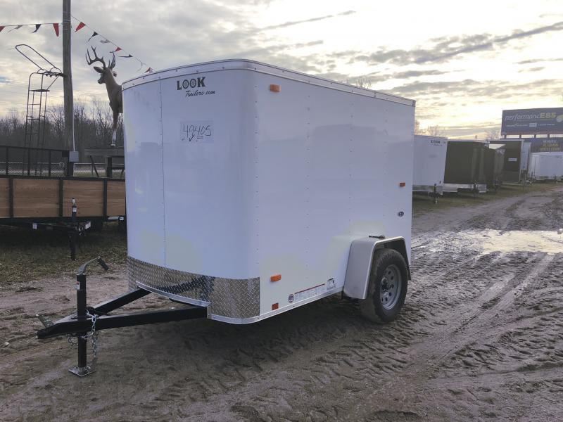 Look Trailers 5X8 Barn Door Enclosed Cargo Trailer White