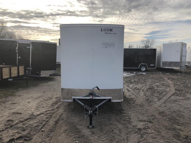 Look Trailers 5X8 Barn Door Enclosed Cargo Trailer White