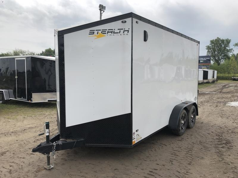 Stealth Trailers Mustang 7x14 HD UTV +12IN V-Nose Ramp Door Enclosed Trailer White