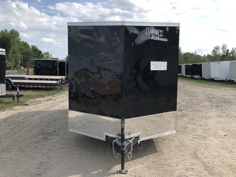 Look Trailers 7x14 V-Nose Ramp Door Enclosed Trailer Black w/ 6ft 6in Interior height