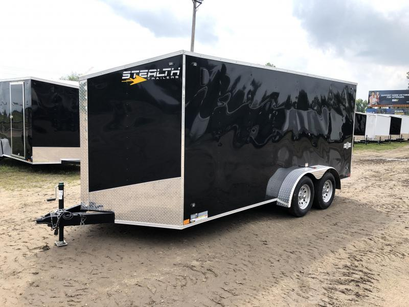 Stealth Trailers Black 7X16 V-Nose Ramp Door Enclosed Trailer