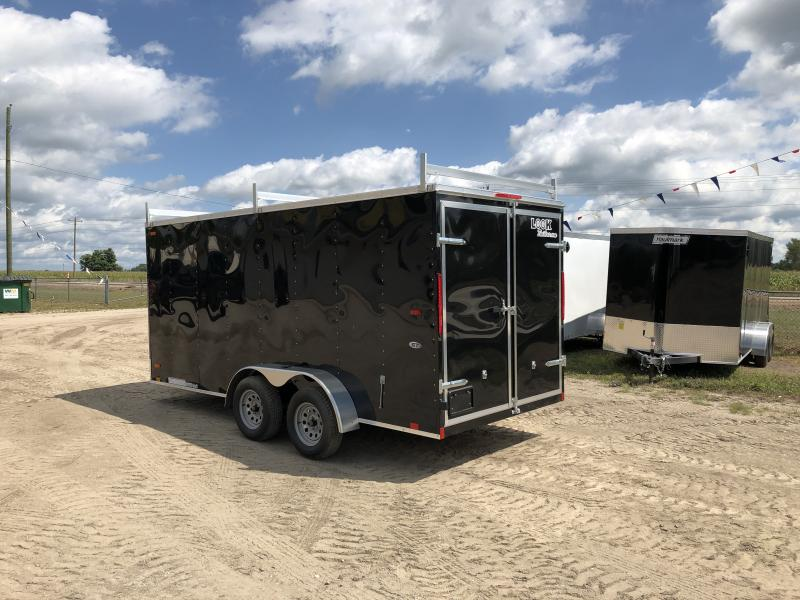 Look Trailers 7x16 Barn Door Enclosed Trailer Black w/ 6ft 6in Interior height and Ladder Racks