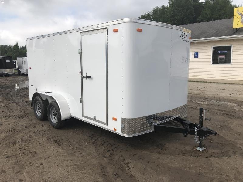 Look Trailers 7x14 Barn Door Enclosed Cargo Trailer White